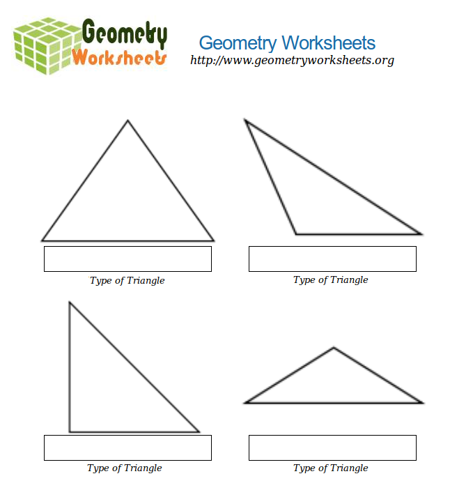 Math Worksheets Types Of Triangles Geometry Worksheets Org