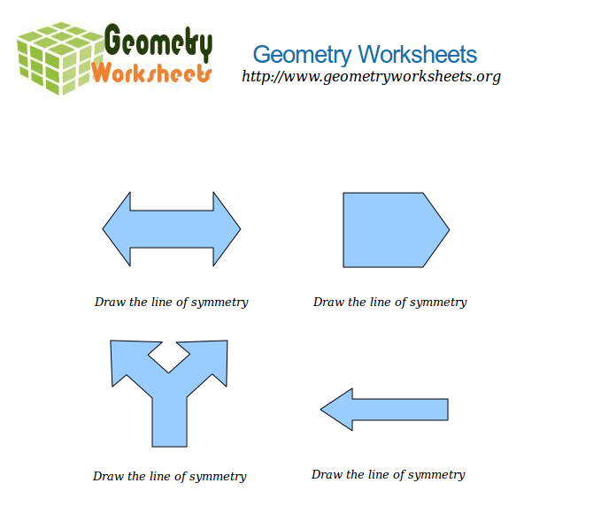 Math Worksheets - Drawing the Line of Symmetry | Geometry ...
